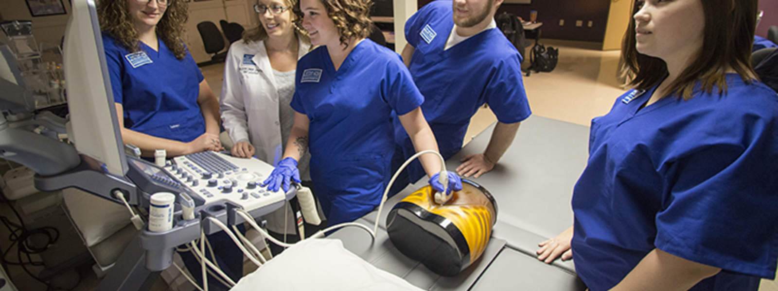Students in Sonography lab scanning a model